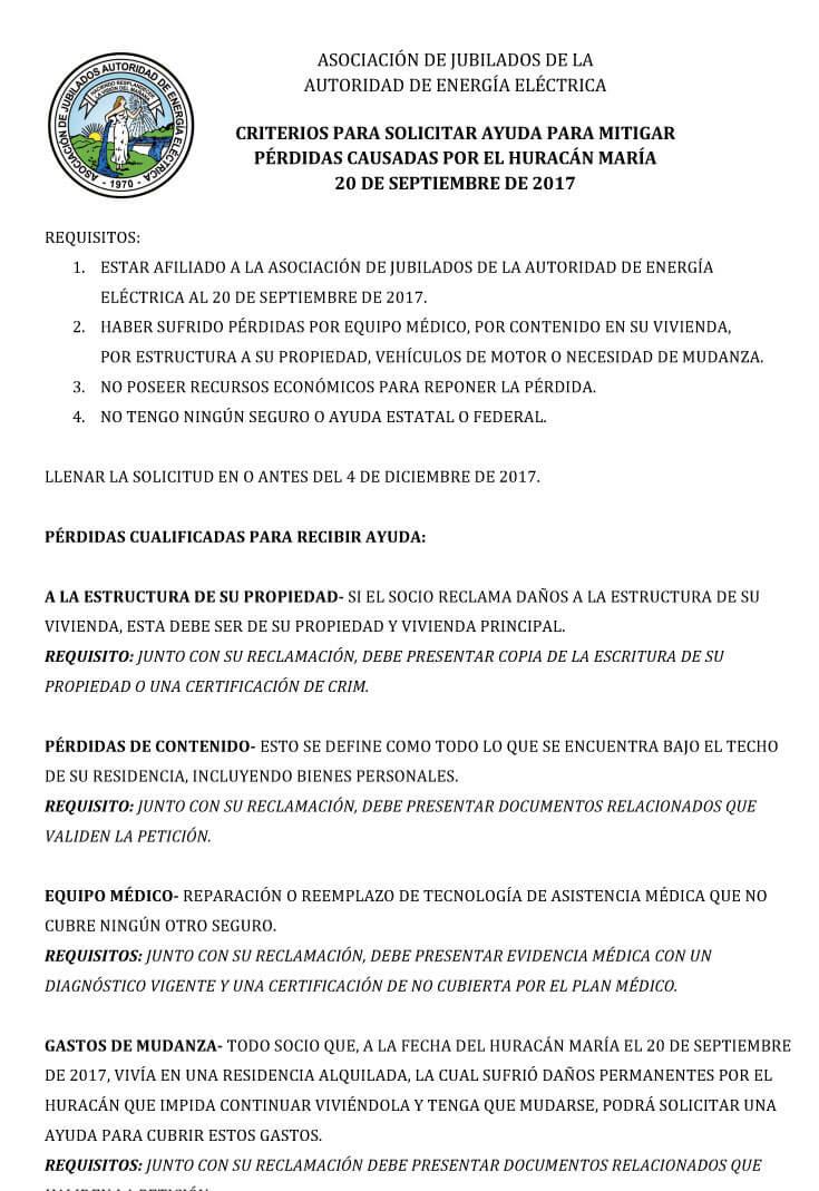 Requisitos ayuda Huracán María